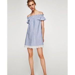 [ nwt ] ZARA Off Shoulder Seersucker Dress.